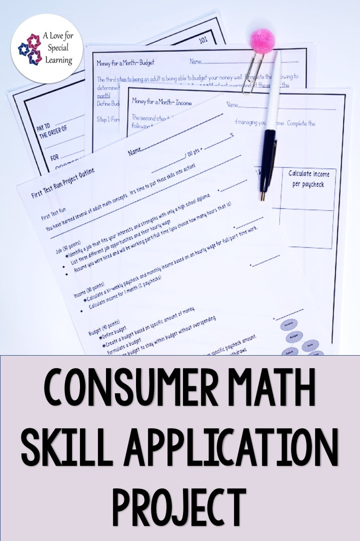 This resource is an applied learning math project that's ideal for an application based review activity.  Use this no prep printable project to assess the consumer math lessons that you teach.  Appropriate for high school and transition age special education students in a life skills or functional math class.  The worksheets can be used to assess student learning as a comprehensive and differentiated project.  Concepts include income, budget, checking & savings accounts, check writing.