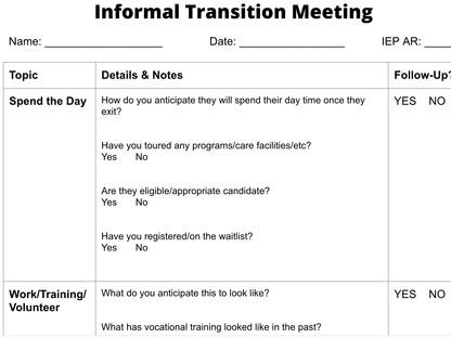 Transition Plan Assessment - Informal Parent Interview Meeting