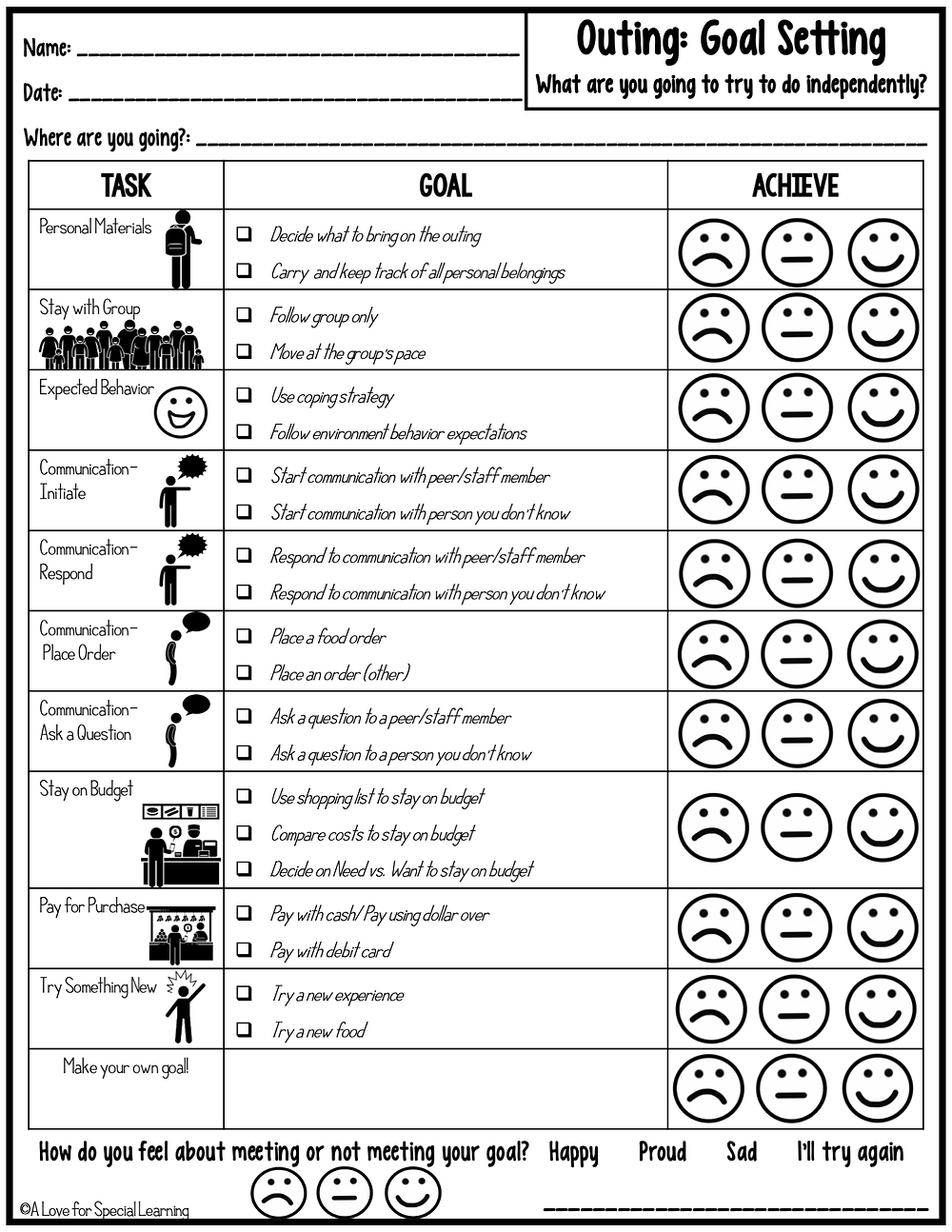 Worksheet with 10 goal setting options with visuals