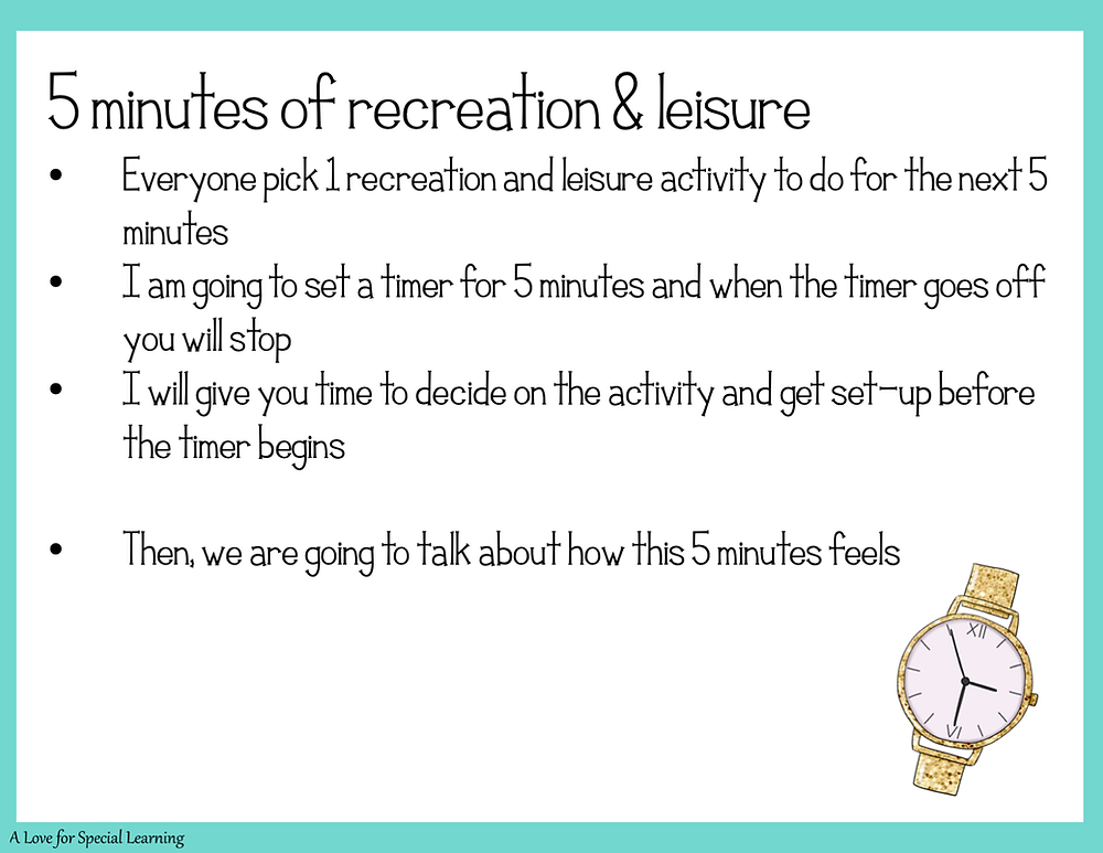 Slide that shows how to practice recreation leisure for 5 minutes