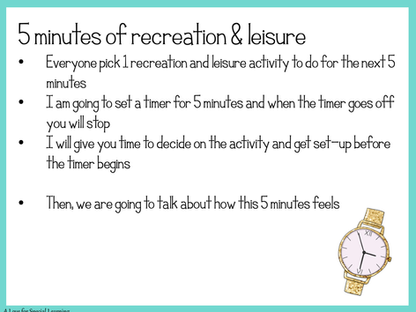 Down Time is a Good Thing- How to Teach Recreation Leisure Skills