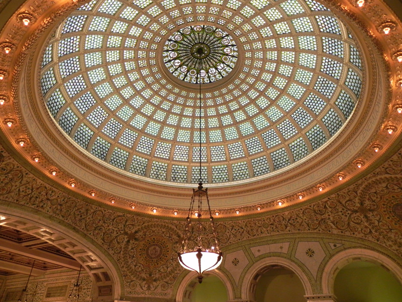 Large colorful, stained glass dome