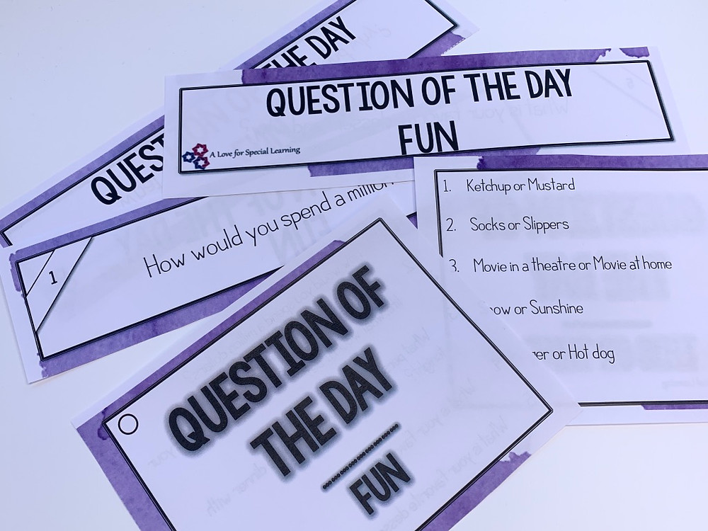 Examples of question slips and cards