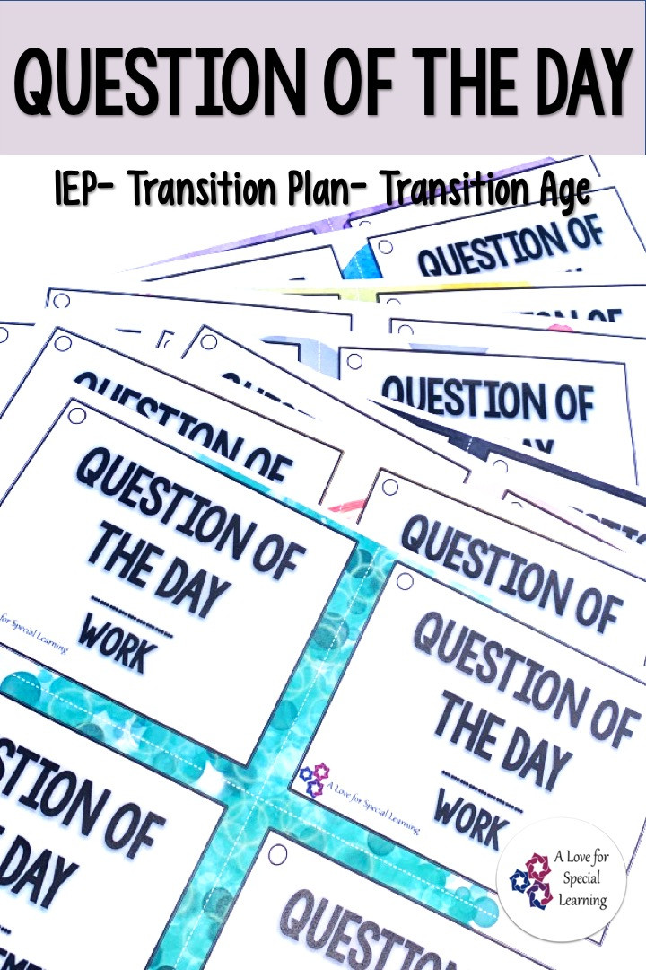 This Question of the Day for Students resource offers 33 different topics with 5 questions per topics to use as conversation starters for morning meetings and more.  Questions are appropriate for teens in high school and transition special education students.  These conversation starter ideas are in two printable versions and cover vocational, problem solving, advocacy, work, fun, life, getting to know you, and more.  Ideal for  function and life skills classrooms.