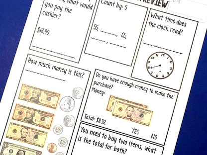 Functional Math Worksheet Practice in the Classroom