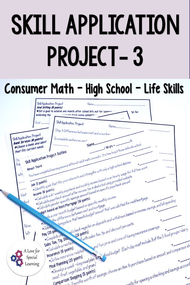 This resource is an applied learning math project for an application based review activity.  Use this no prep printable project to assess the consumer math lessons that you teach.  Appropriate for high school & transition special education students in a functional life skills math class.  Concepts- income, budget, checking, savings, check writing, sales tax, tip, discount, insurance, rent, mortgage, meal plan, cost comparison, credit card, goal setting. Worksheet, differentiated, learning.