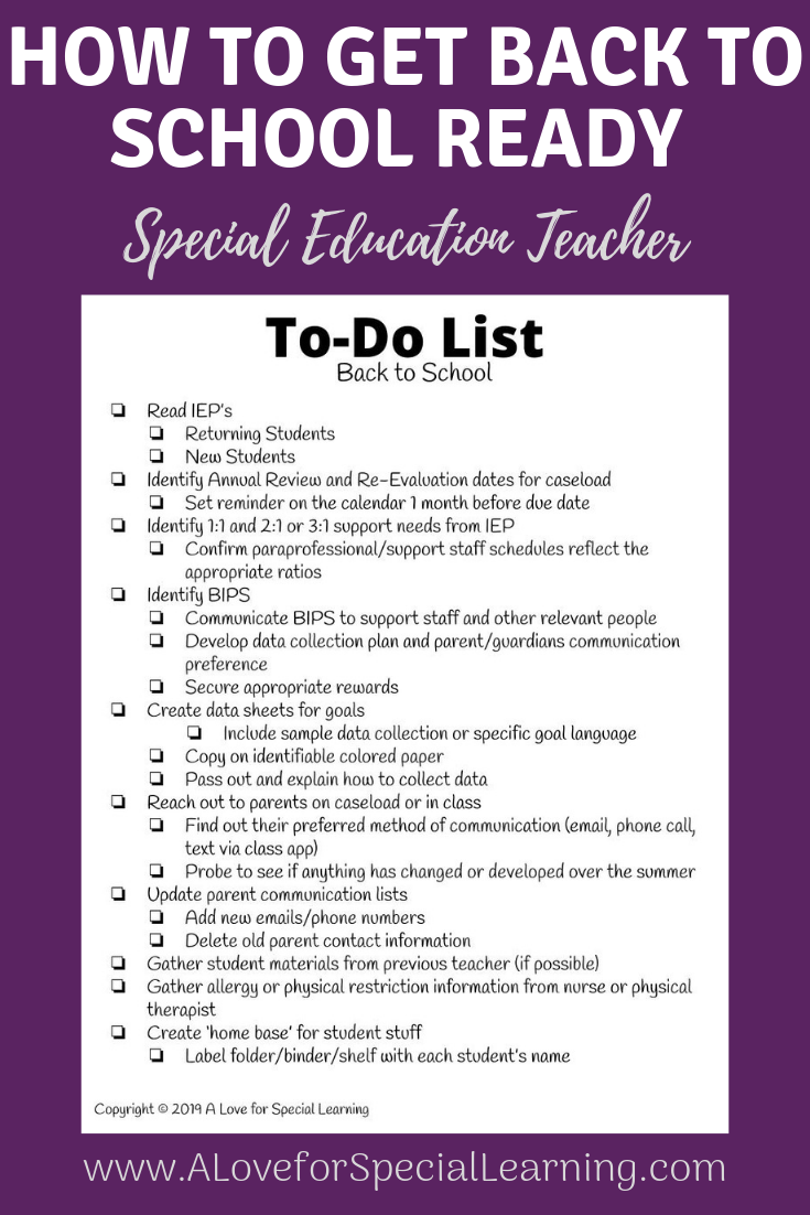 You can be ready for back to school with this back to school checklist for teachers.  This free printable to do list has everything you need and more to start the school year off right.  The checklist includes suggestions for new systems, data collection, morning routine, and more and has space to add your own to-dos.  Perfect for special education teachers at the elementary, high school, or transition level.  Feel less stress from the start by having all of your things to do in one place.