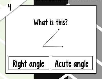 Task card number 4 asking what is this (with a picture of an angle).  Answer options are right angle or acute angle.