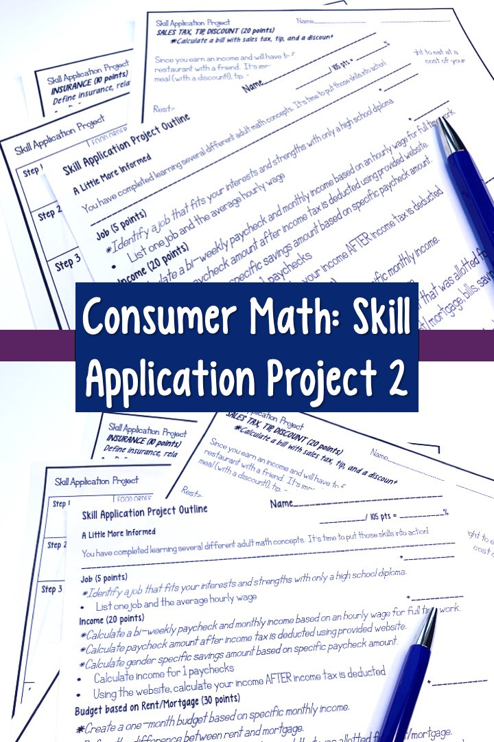 This resource is an applied learning math project that's ideal for an application based review activity.  Use this no prep printable project to assess the consumer math lessons that you teach.  Appropriate for high school and transition age special education students in a life skills or functional math class.  The worksheets can be used to assess student learning as a comprehensive and differentiated project.  Concepts include income, budget, checking & savings accounts, check writing, sales tax, tip, discount, insurance, rent, mortgage.