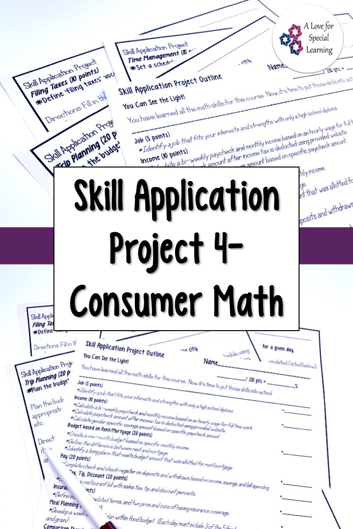 This resource is an applied learning math project for an application based review activity. Use this no prep printable worksheet project to assess consumer math lessons you teach. Appropriate - high school & transition special education functional life skills math class. Concepts income, budget, checking, savings, sales tax, tip, discount, insurance, rent, mortgage, meal plan, cost comparison, credit card, goal setting, students, differentiated, learning, time management, trip planning, taxes.