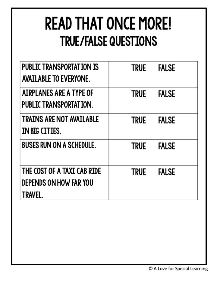 5 true false questions about public transportation
