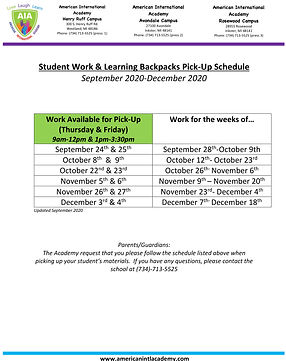 Student Work & Backpack Pick Up Schedule