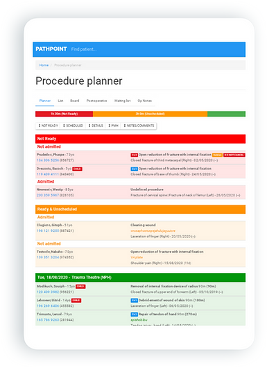 Digital procedure planner available on all devices