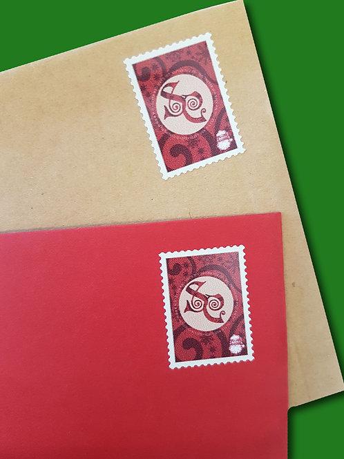 50 Self Adhesive Santa Postage Stamps