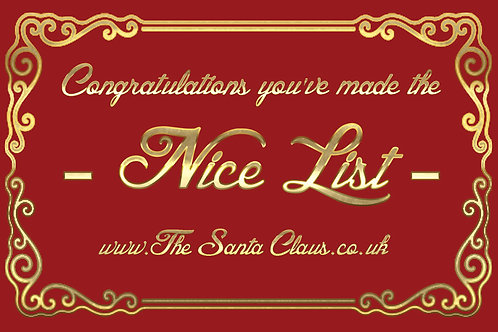 Santa's Nice List personalised Business Cards