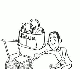 Man repairing wheelchair