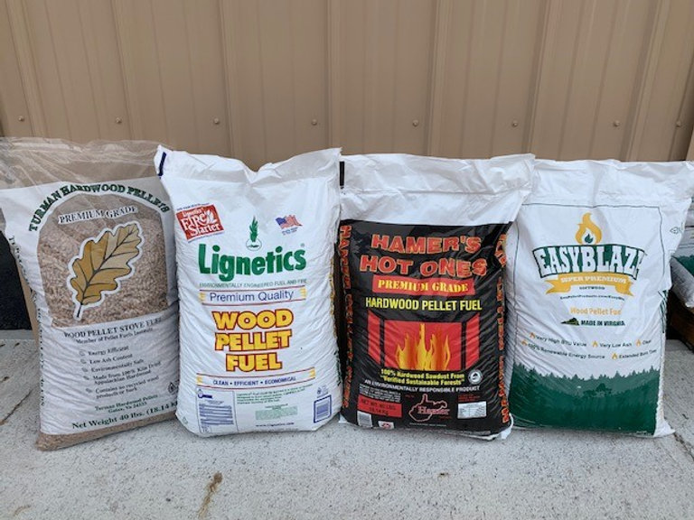 4 brands of wood pellets Turman EasyBlaze Hamers Lignetics.jpg