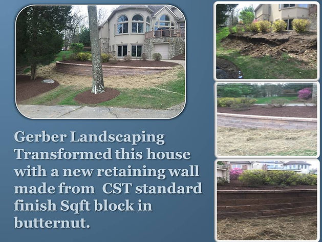 landscaping, Retaining wall made from CST standard finish square foot block in butternut.