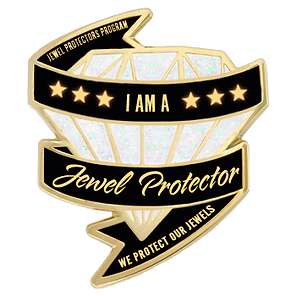Jewel Protector Lapel Pin white diamond.