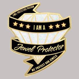 Jewel Protector Lapel Pin white diamond.