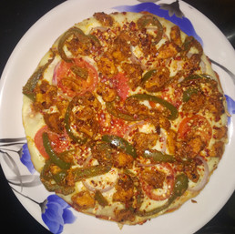Kadai Chicken Pizza Recipe - Without Oven - Without Yeast - Without Cheese