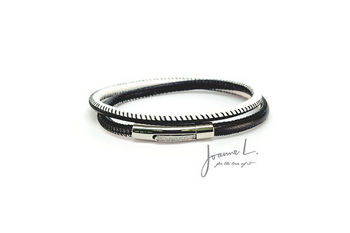 DOUBLE WRAP LUXE LEATHER BRACELET IN BLACK AND WHITE