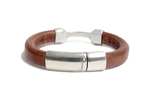 RUSTIC MEN'S LUXE LEATHER BRACELET IN BROWN LEATHER AND SILVER