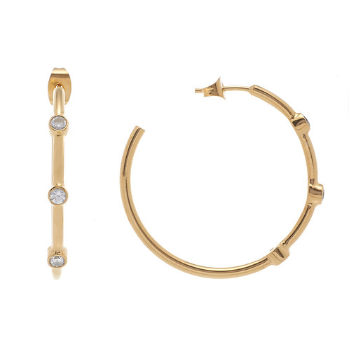 PETIT AMOUR TRI STONE EARRING HOOPS IN YELLOW GOLD