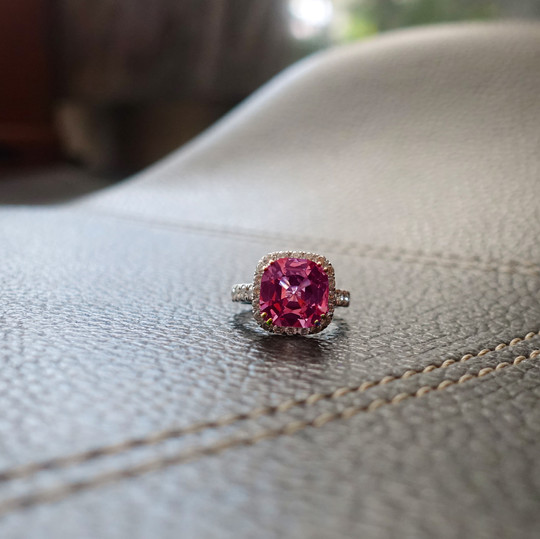 Customised Spinel and Diamond Ring