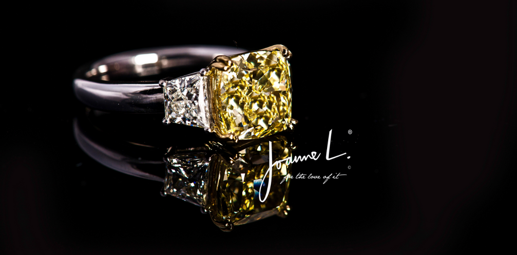 GIA Flawless Fancy Yellow and White Diamond Ring