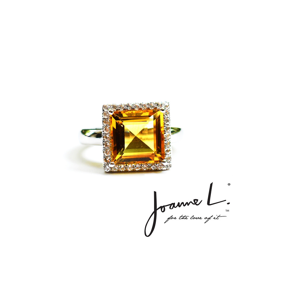 Customised and bespoke Citrine Ring with diamonds