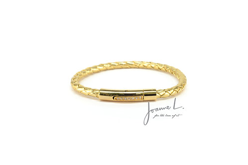 LUXE LEATHER BRACELET IN YELLOW GOLD