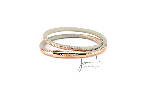 DOUBLE WRAP LUXE LEATHER BRACELET IN ROSE GOLD AND GREY