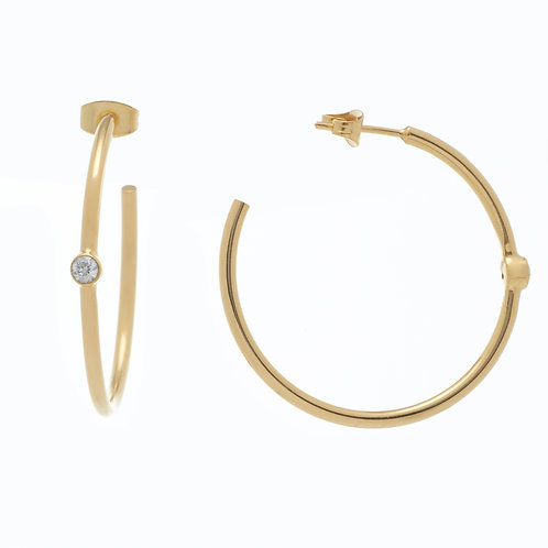PETIT AMOUR SINGLE STONE EARRING HOOPS IN YELLOW GOLD