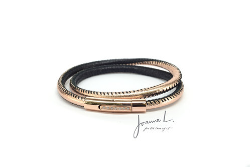 DOUBLE WRAP LUXE LEATHER BRACELET IN BLACK AND ROSE GOLD
