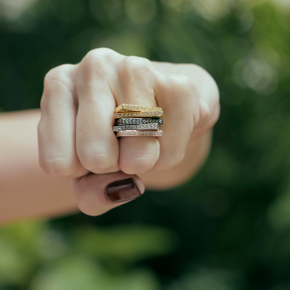 Joanne L Toast Rings in silver with white, yellow and rose gold and rhodium plating