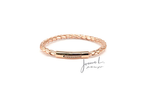 LUXE LEATHER BRACELET IN ROSE GOLD