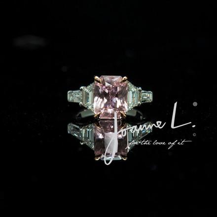 Customised Bespoke Padparadcha Sapphire and Diamond Engagement ring