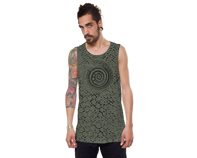 ALL OVER SERPENT OLIVE TANK