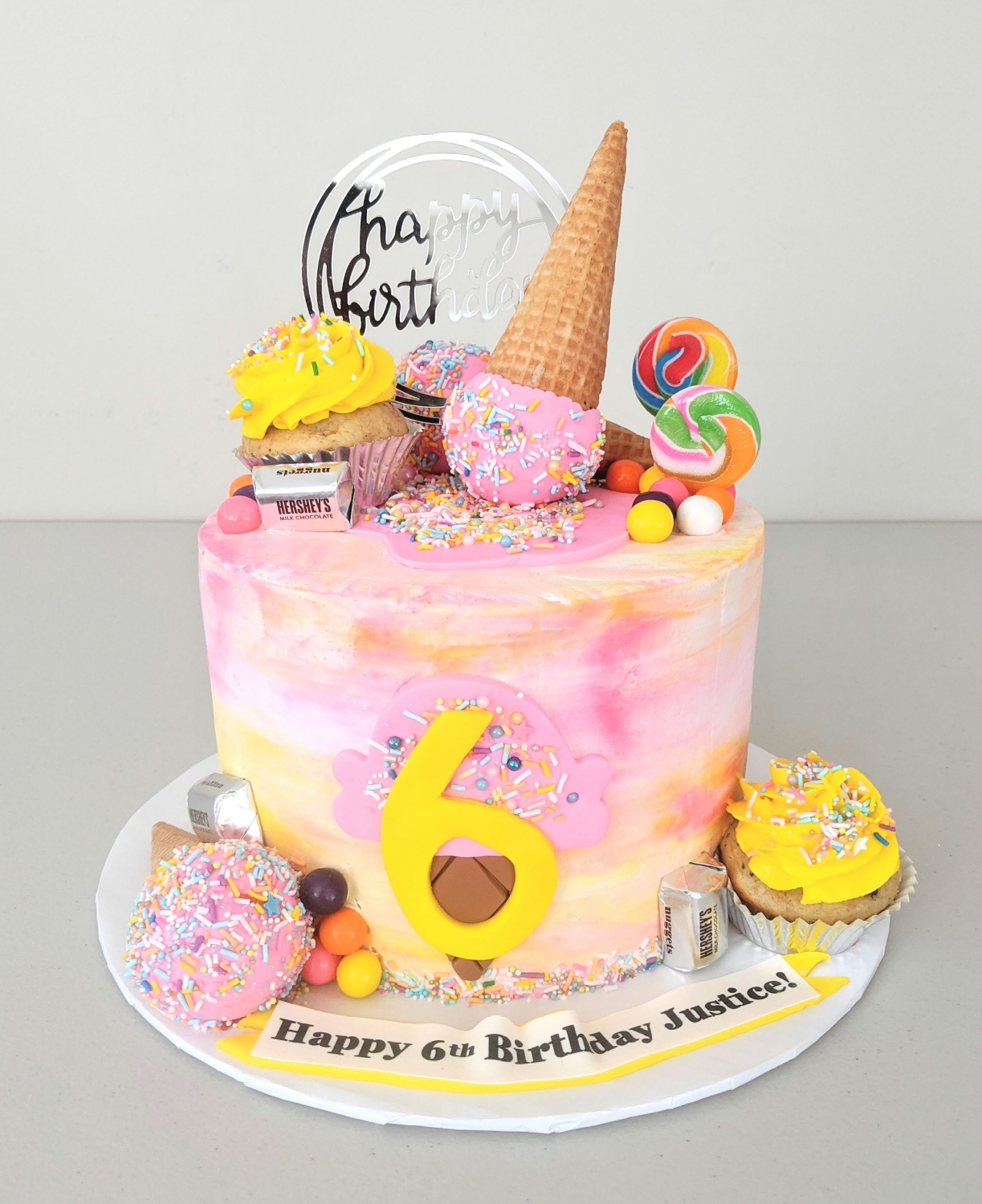 Ice Cream Cone themed Birthday Cake