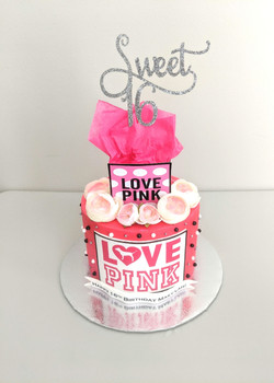 LOVE Pink Birthday Cake