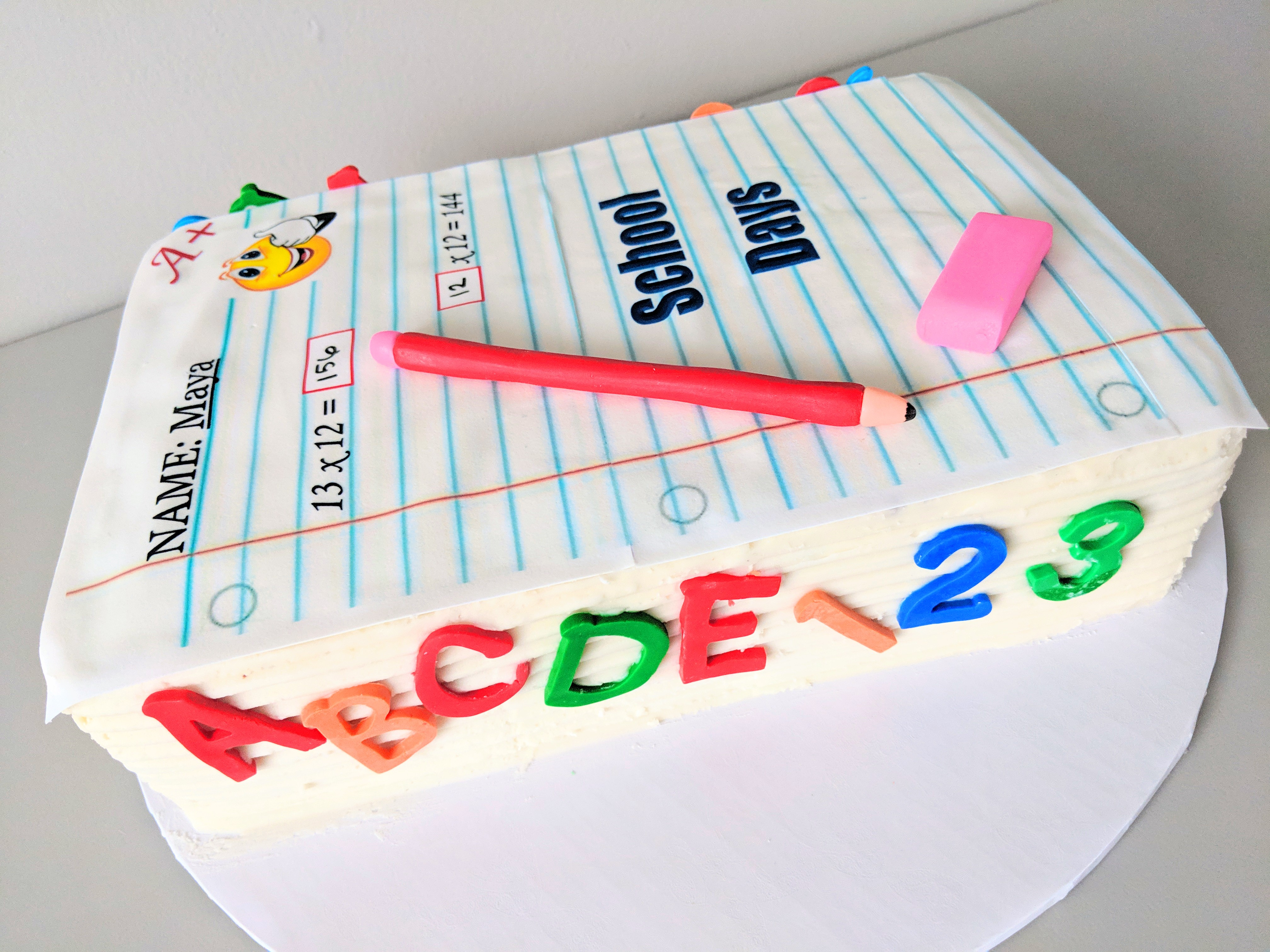 Back to School Birthday Cake (left)