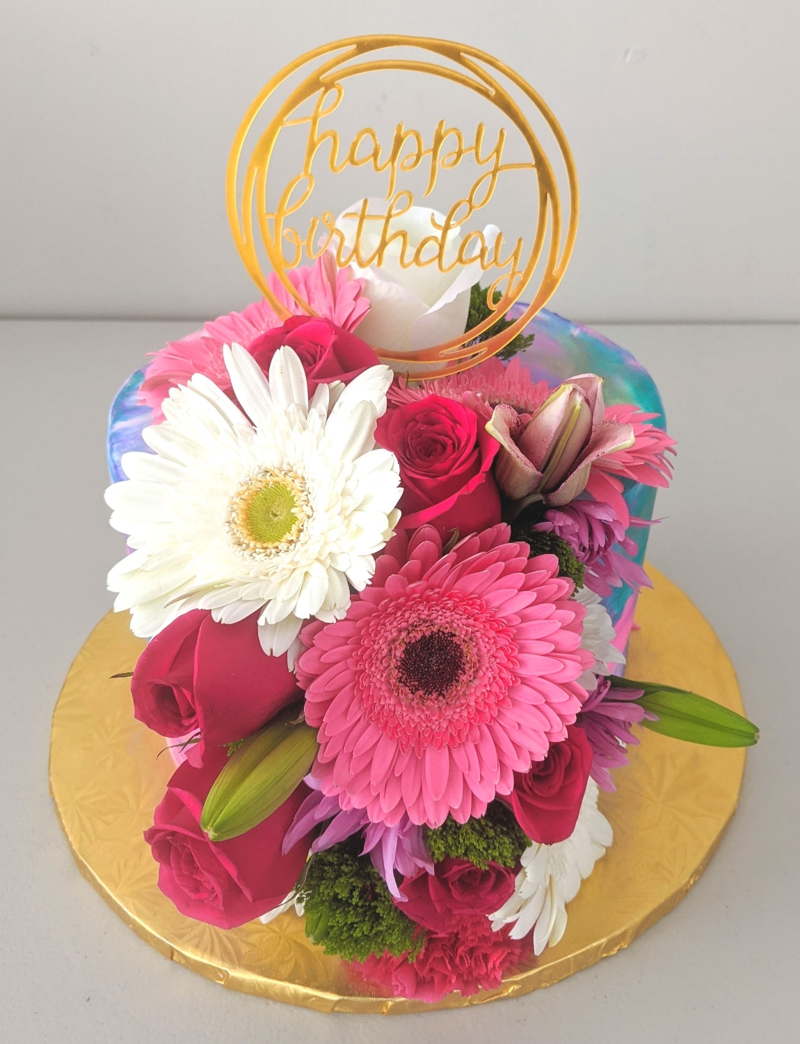 Floral Elegance Birthday Cake