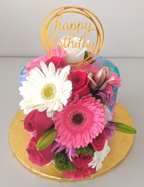 Floral Elegance Birthday Cake