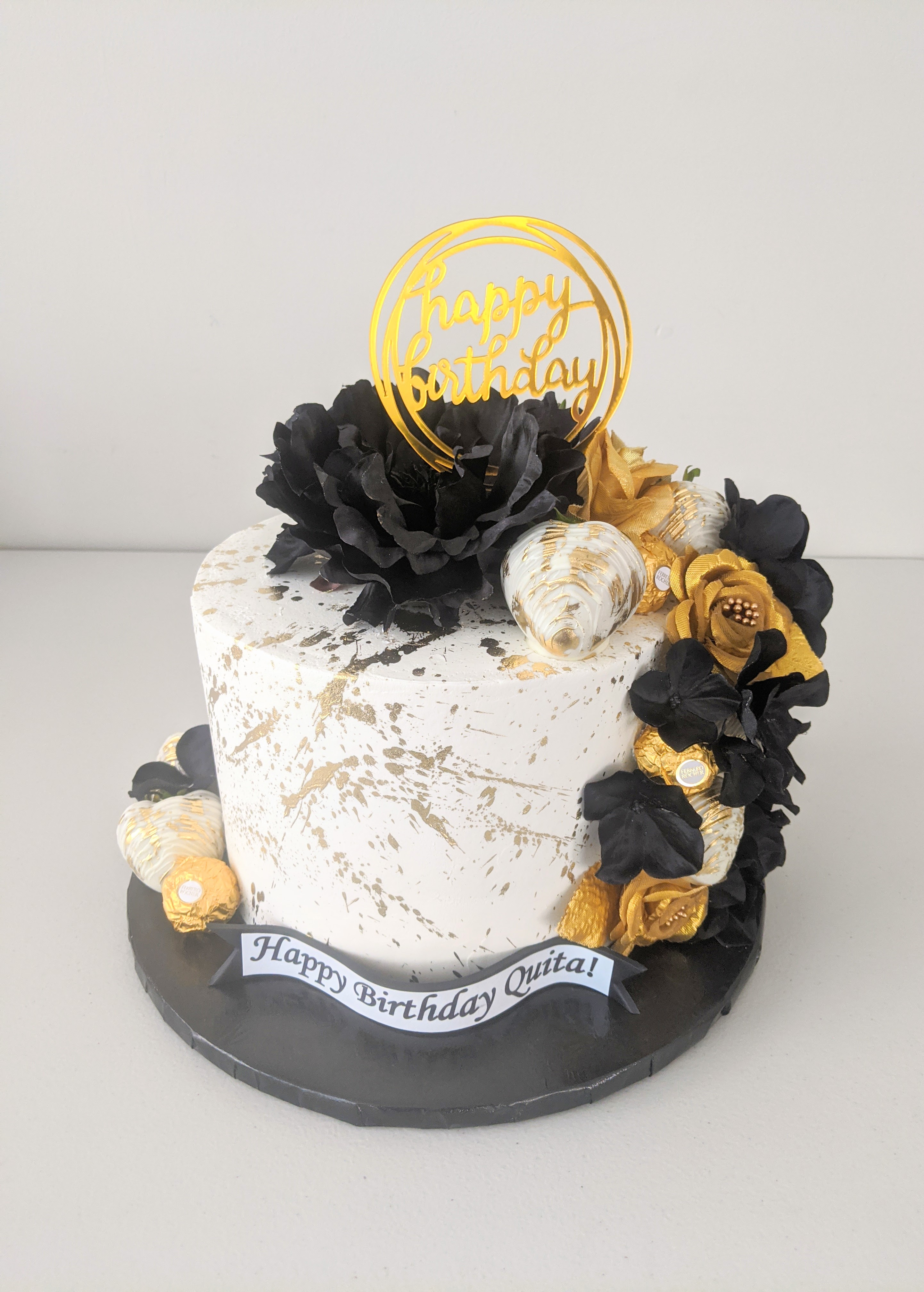 Black, Gold, & White Elegance Cake