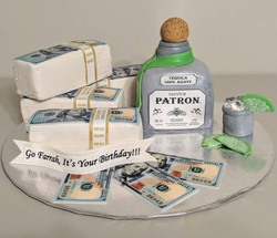 Cash & Cocktails Birthday Cake
