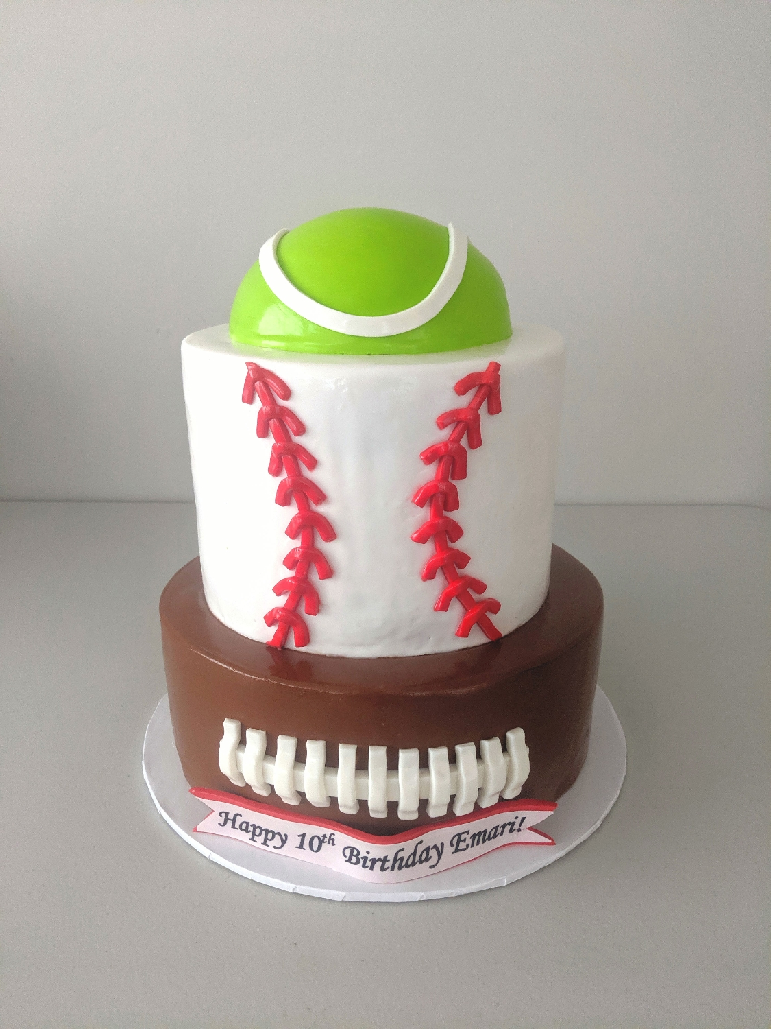 Tennis, Baseball, & Football Cake
