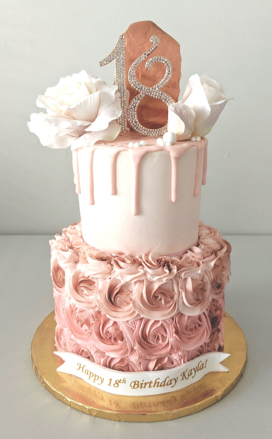 Roses, Rosette, & Rose Gold Cake