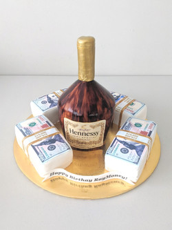 Hennessy and Money Stacks Cake