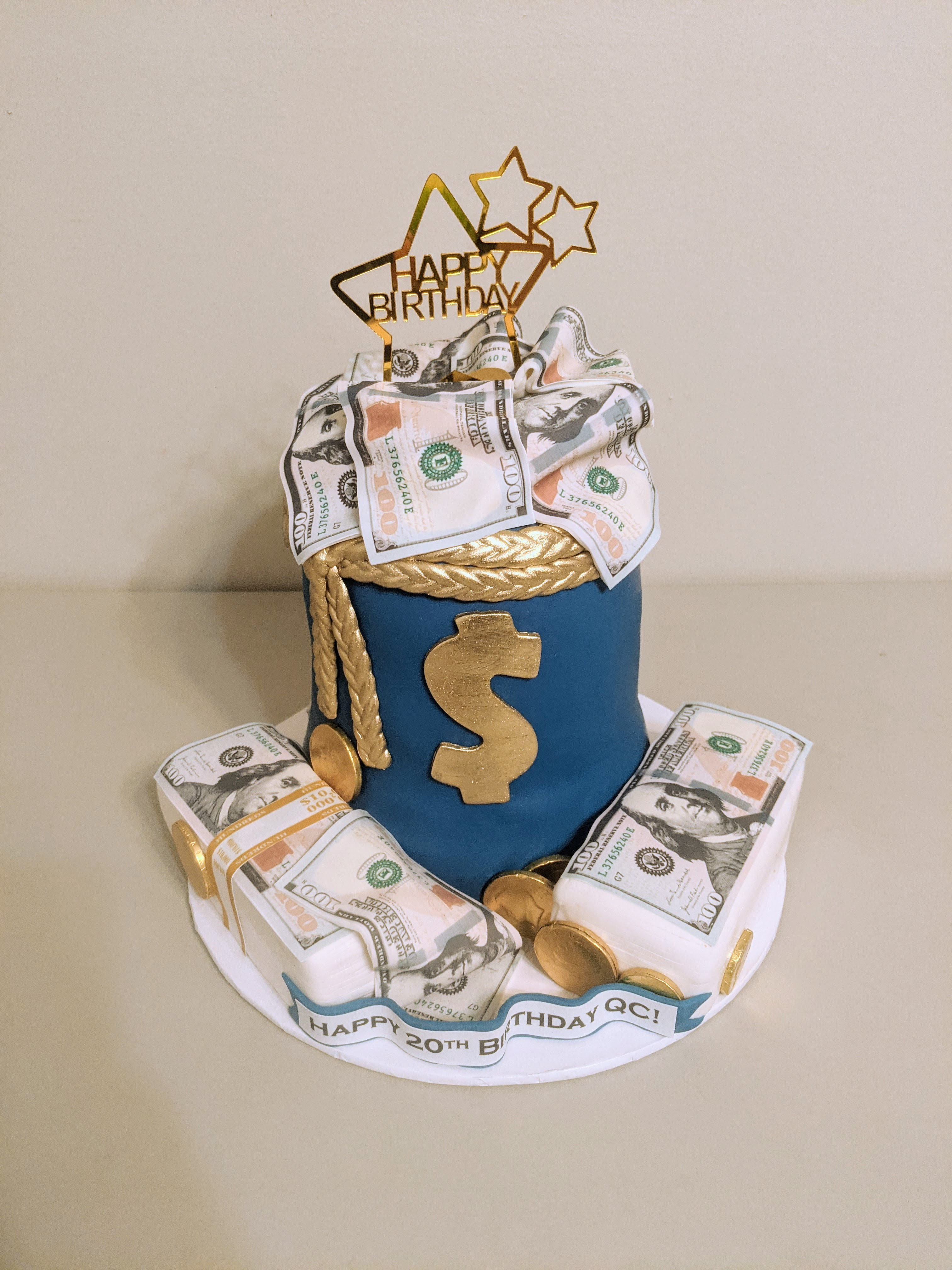 Money Bag Birthday Cake